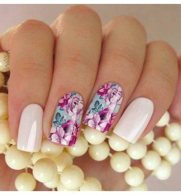 Películas ou Adesivos de Unhas Modelo Floral Rosa Roxas e Lilas - Adesivos para Unhas, Películas para Unhas e Esmaltes - Doce Película