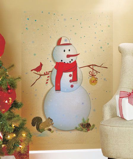 SNOWMAN HOLIDAY CHRISTMAS WALL DECAL ART LIVING ROOM ENTRYWAY ...