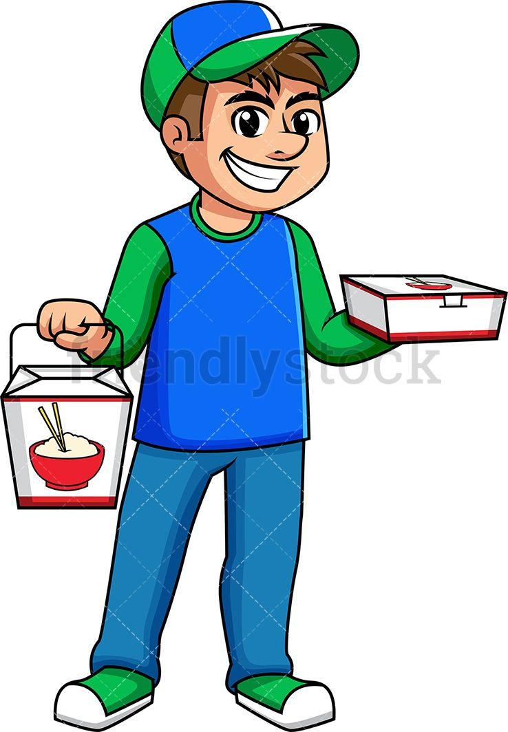 Man Delivering Asian Food Cartoon Vector Clipart Friendlystock Asian Recipes Asian Food Delivery Food Cartoon