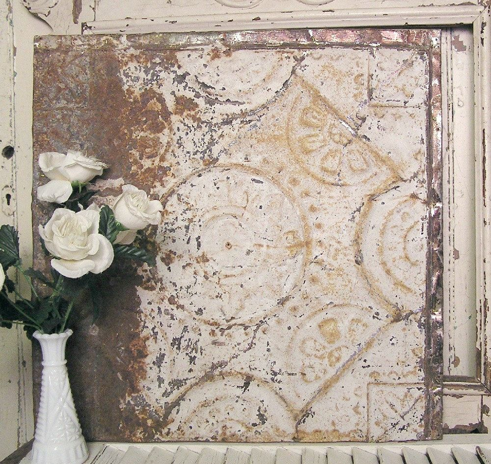Vintage tin ceiling tile 20x20 framed antique tin tile vintage tin ceiling tile 20x20 framed antique tin tile architectural salvage repurposed dailygadgetfo Image collections