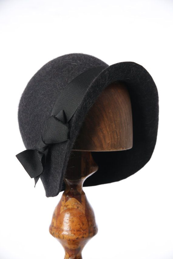 Miss Fisher Charcoal Fur Felt 1920's Cloche Hat