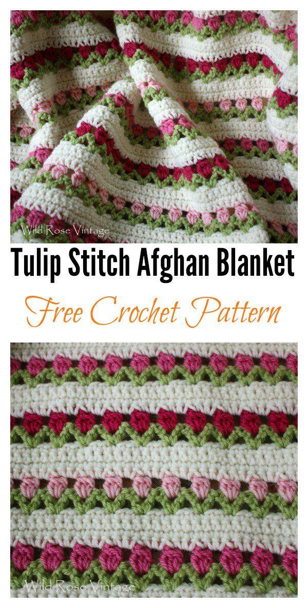 Crochet Tulip with Free Pattern | Pinterest | Manta, Puntos crochet ...