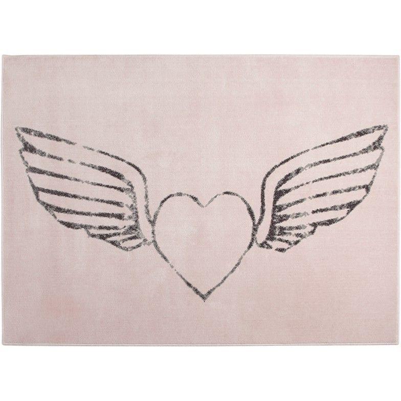 Kinderteppich mit geflügeltem Herz, nude, 140 x 200 cm, von Lorena Canals