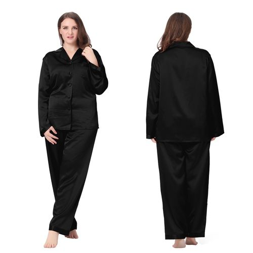 Comfortable Black Plus Size Silk  Pajamas Two-piece Set.  95fd641f1