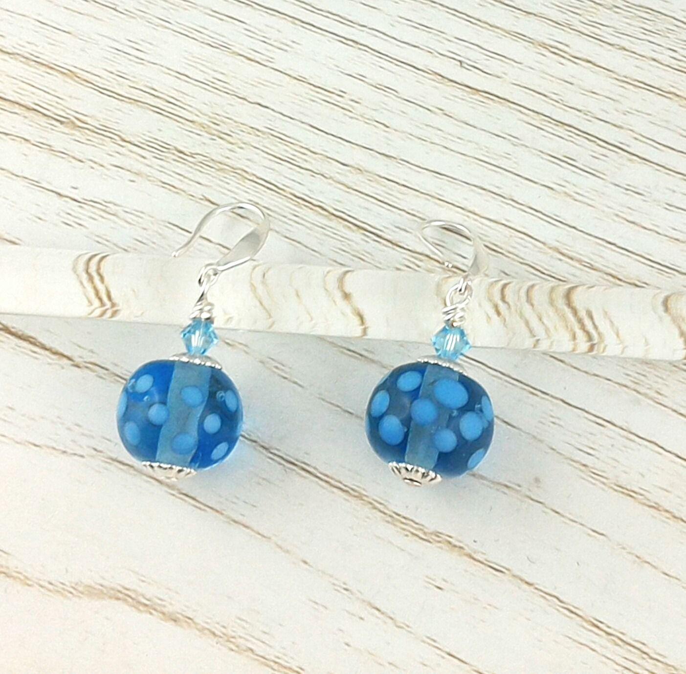 Boucles d'oreilles Argent 925 perles en verre de Murano filé au chalumeau Bleu : Boucles d'oreille par auverredoz