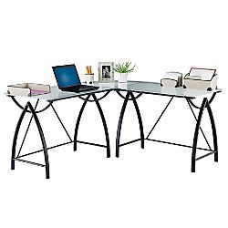Genial Realspace Alluna Collection Glass L Shape Desk 29 18 H X 60 58 W X 60 58 D  Black FrameFrosted Glass By Office Depot U0026 OfficeMax