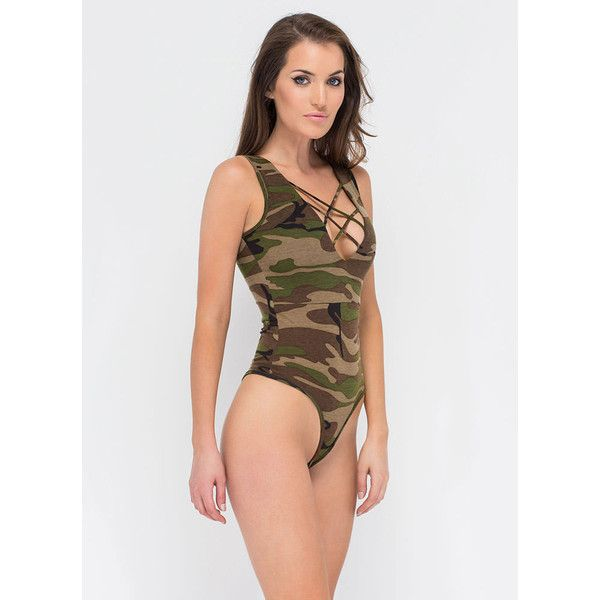 GREEN Crossing Guard Camo Thong Bodysuit ($9.95) ❤ liked on Polyvore featuring intimates, shapewear and green
