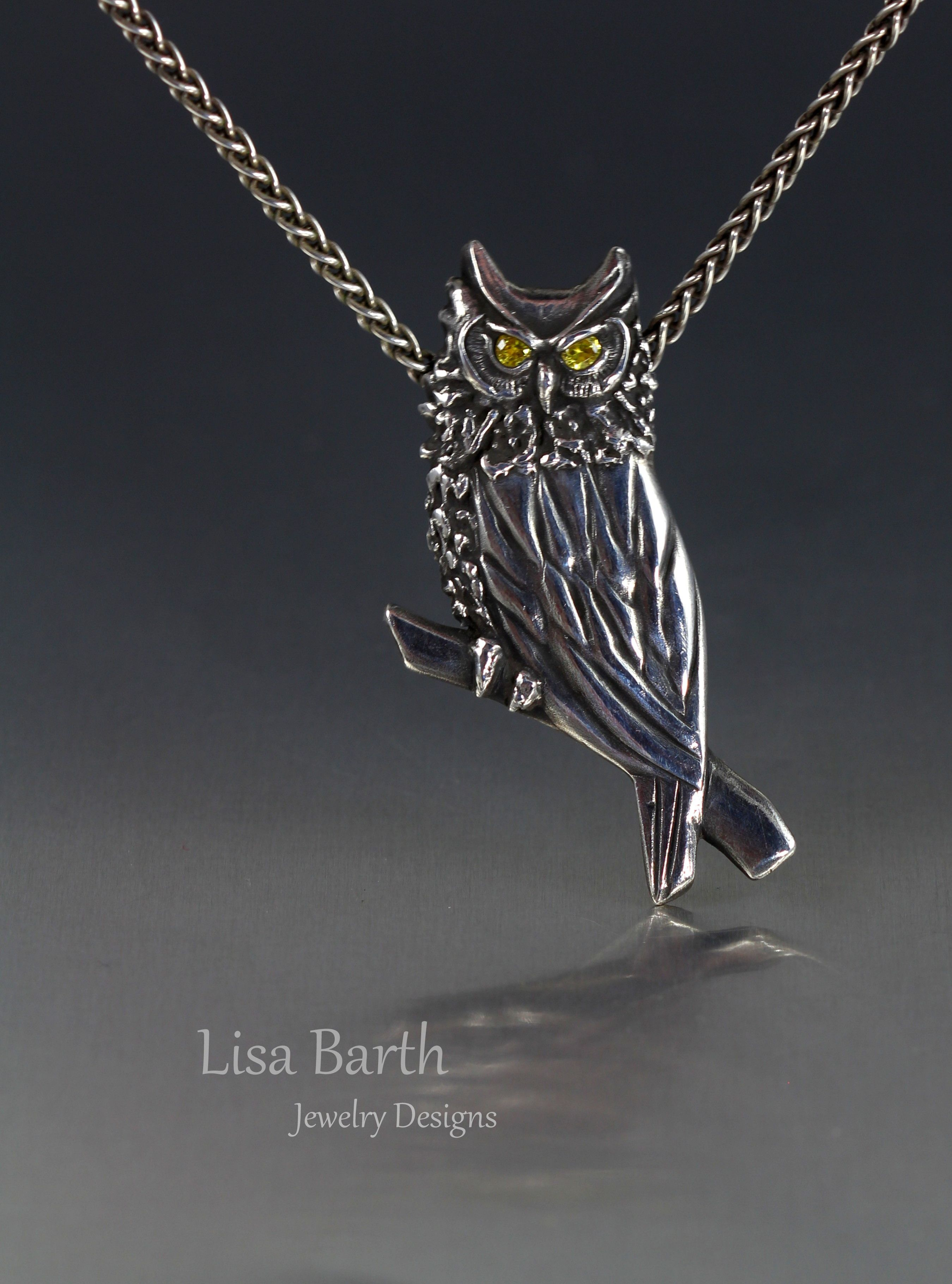 Hand carved owl of fine silver metal clay. I just used tools and ...