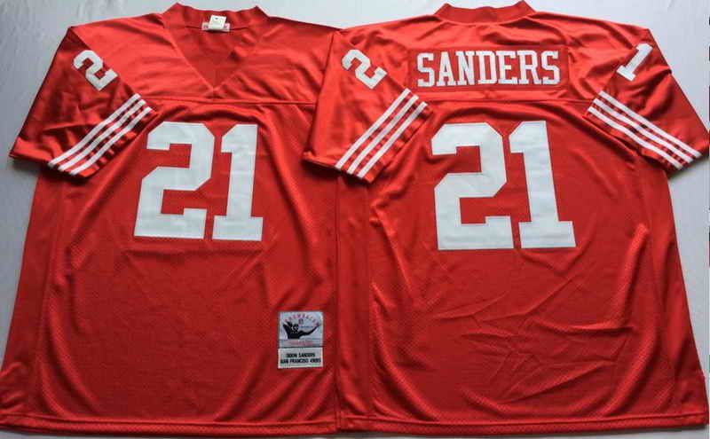 Mitchell   Ness San Francisco 49ers  21 Deion Sanders Red NFL Throwback  Jersey 38d80a88f
