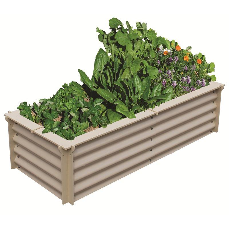 Birdies 1.5 X 0.6 X 0.4m Pale Eucalypt Classic Corrugated Raised Veggie  Garden Bed Kit