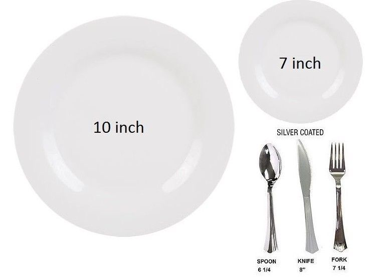 Bulk, Dinner / Wedding Party Disposable Plastic Plates & silverware ...