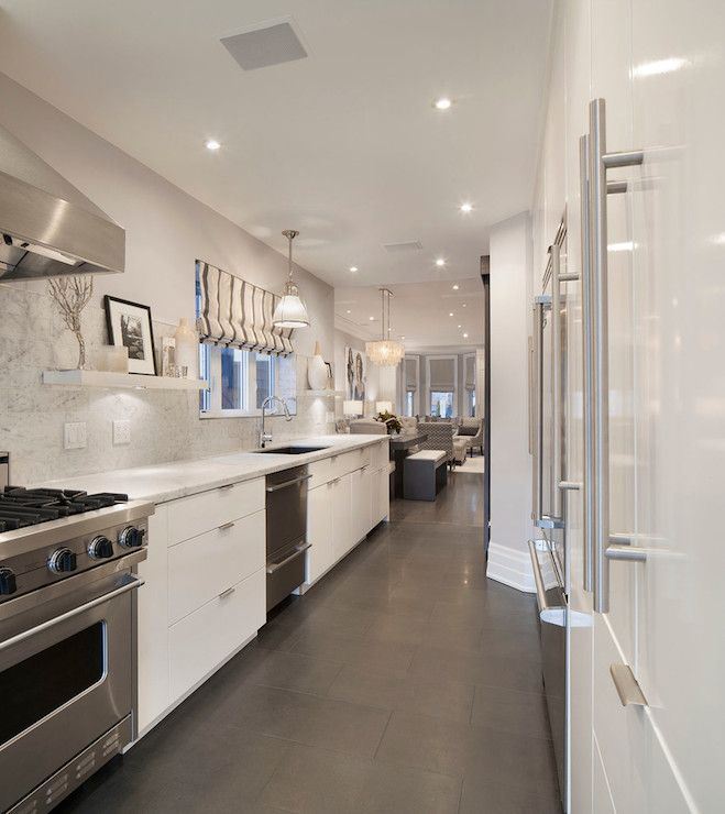 Contemporary Gray & White Galley Kitchen