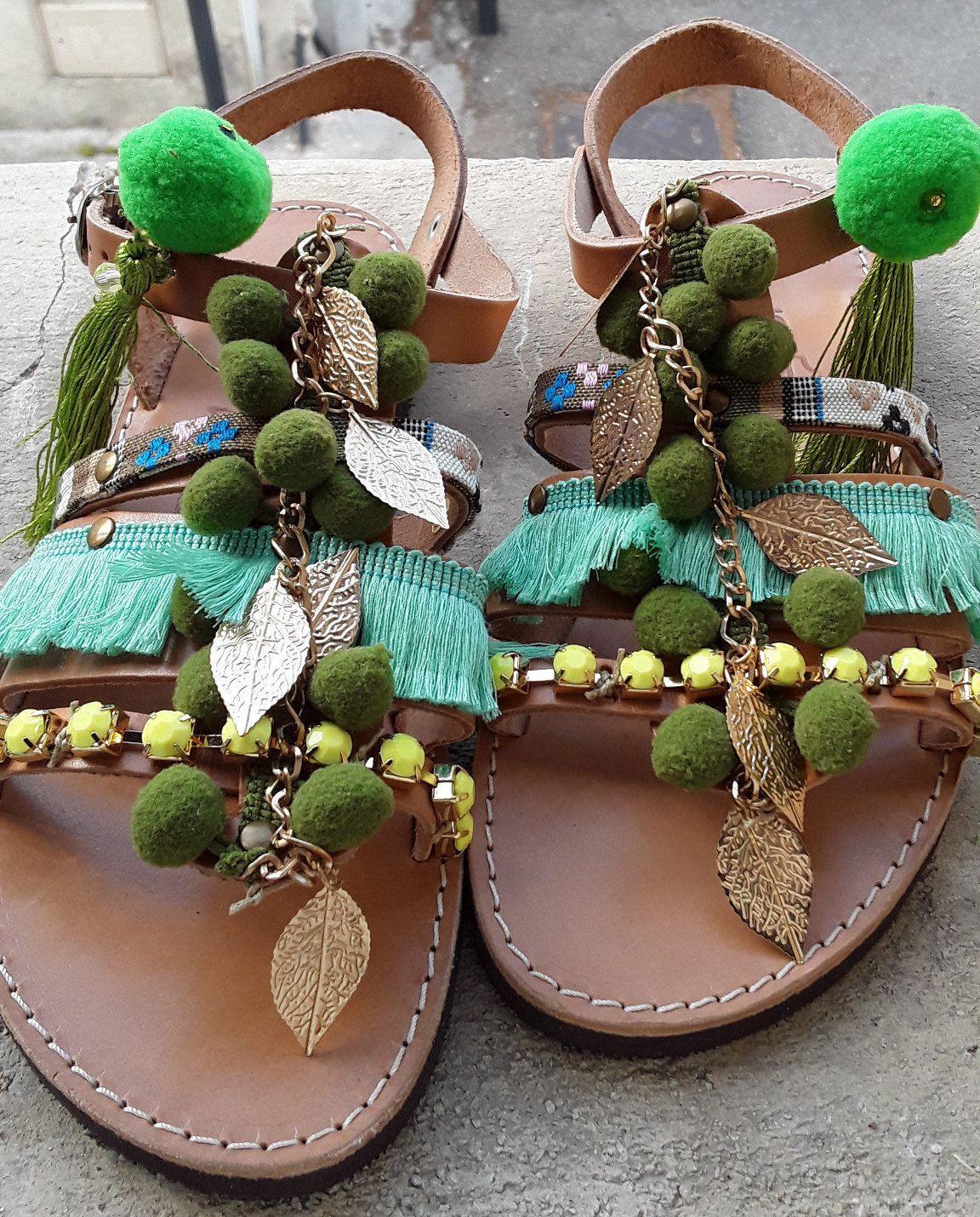 ea2231e39c474 Green Womens gladiators boho sandals yellow, pompom gypsy sandals ...