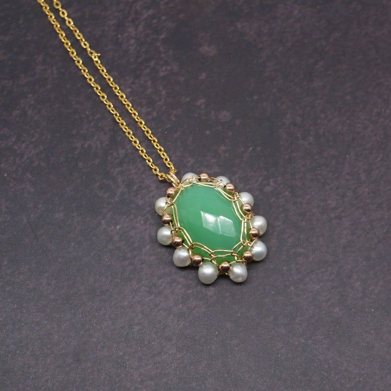 Australian chalcedony 14k gold filled wire wrapped