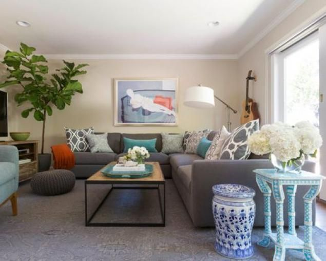 60+ Stunning Gray and Turquoise Living Rooms Ideas LIVING ROOM ALL