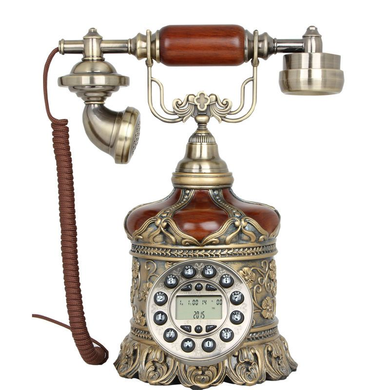 New Brown Antique Push Button Corded Phone Flower Style Retro Vintage Telephone