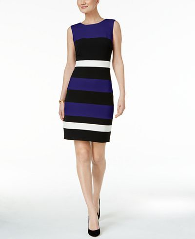 07670095cc7 Tommy Hilfiger Striped Scuba Sheath Dress - Dresses - Women - Macy's