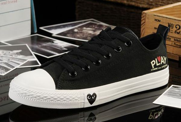 7ca4871f6863 Edison Loving Heart Limited Edition Converse Play Comme Des Garcons All  Star Chucks Low Tops Black Canvas Sneakers
