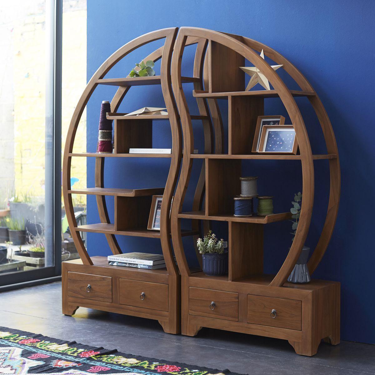 Sphere Bi Ying Yang Teak Bookshelf 155x155 In 2020 Art Deco