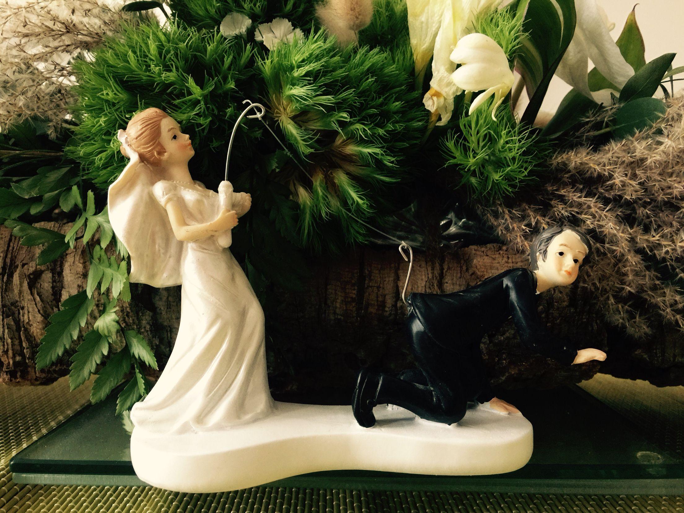 Mariés humoristiques, à la pêche