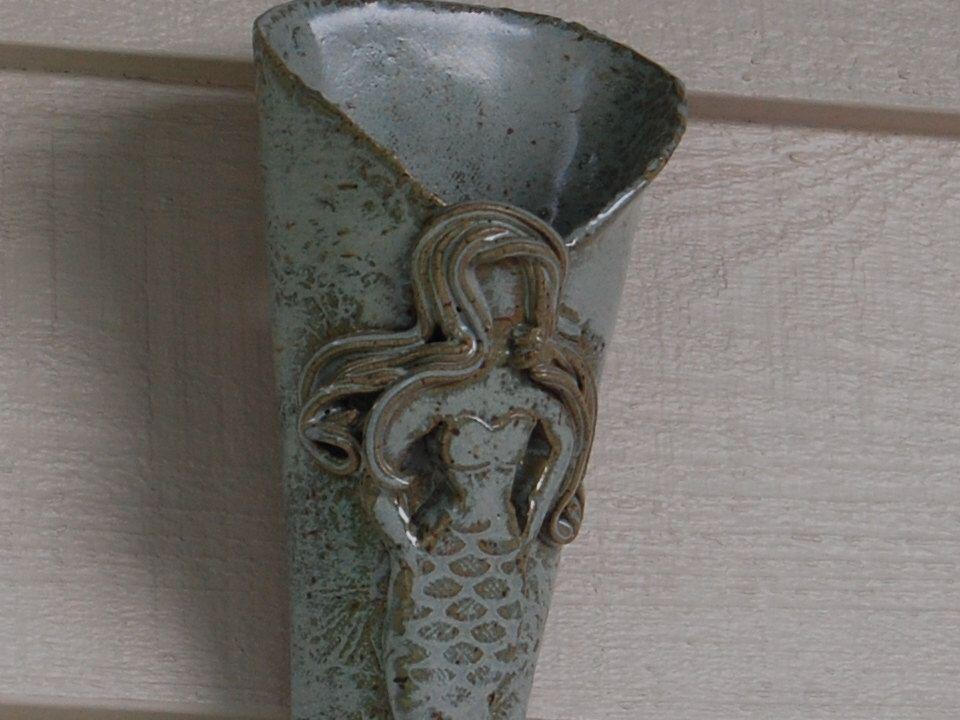 Pottery Wall Vase - Mermaid  Handmade Pottery, holds water by CenterHillClayWorks on Etsy https://www.etsy.com/listing/205739426/pottery-wall-vase-mermaid-handmade