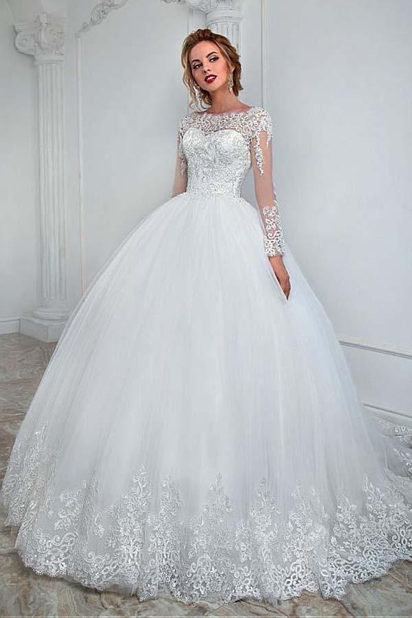 Elegantes Bateau-Ausschnitt-Ballkleid-Hochzeits-Kleid mit Spitze-Applikationen WD201 #tulleballgown
