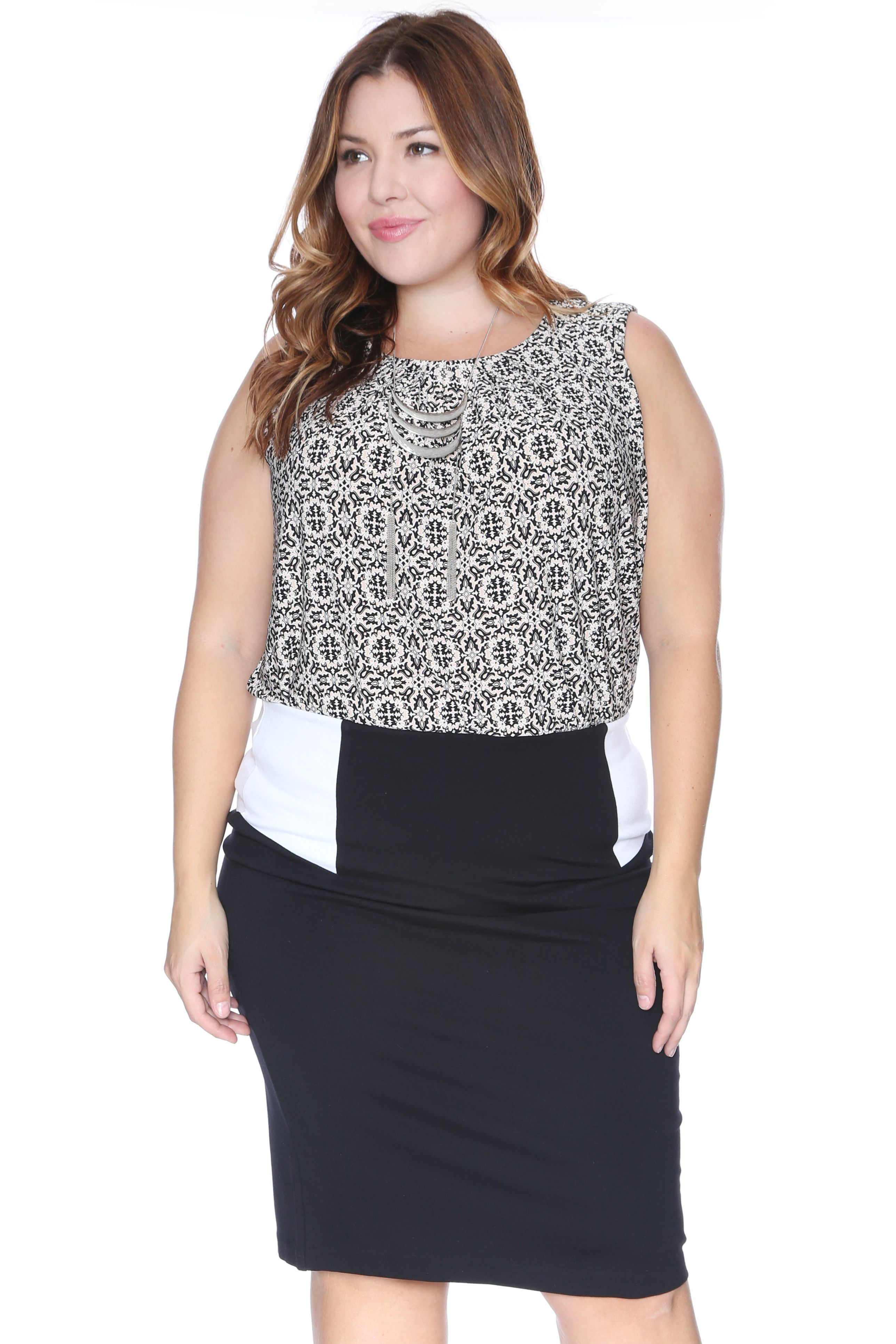 7a5c9be3611e7d Plus Size Colorblock Skirt-Plus size women's color block bodycon pull on pencil  skirt in a comfortable stretch fabric. Pair with a tucked in blouse and  high ...