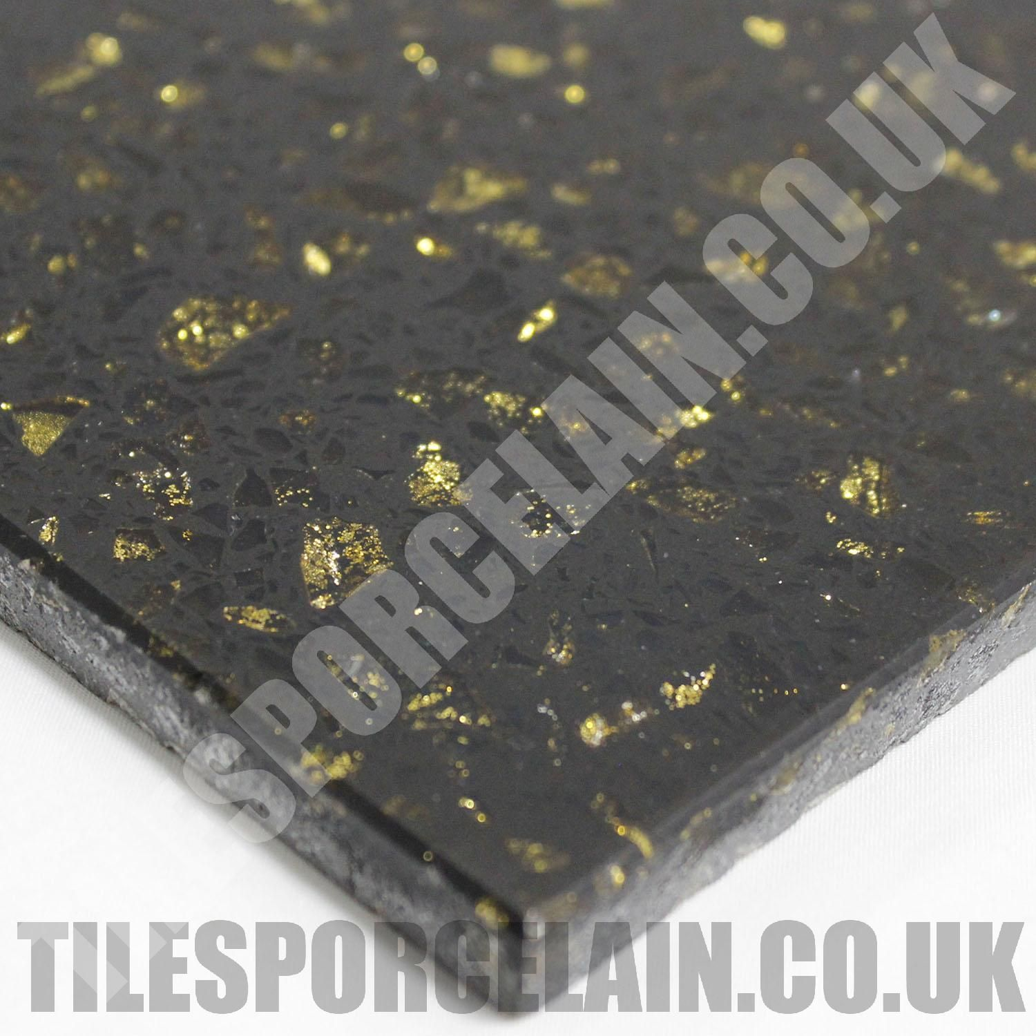 Cosmos Black Quartz Tiles With Gold Mirror Flecks These Wall And