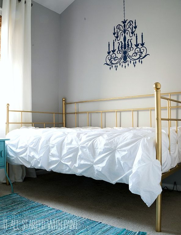 Gold Bed Frame Created With Spray Paint Bedroom Projects