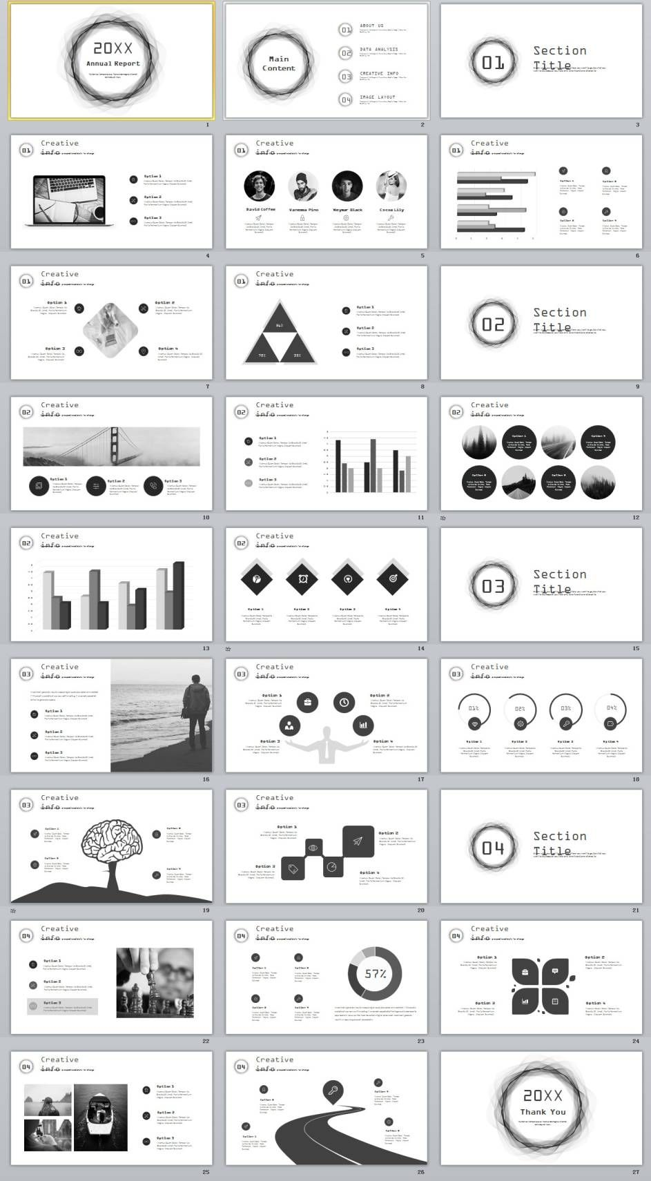 27 gray annual report slides powerpoint templates presentation