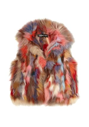I encourage you to throw pretty much anything you can find at someone who decides to wear this...thing. (Multicolor fox fur vest)