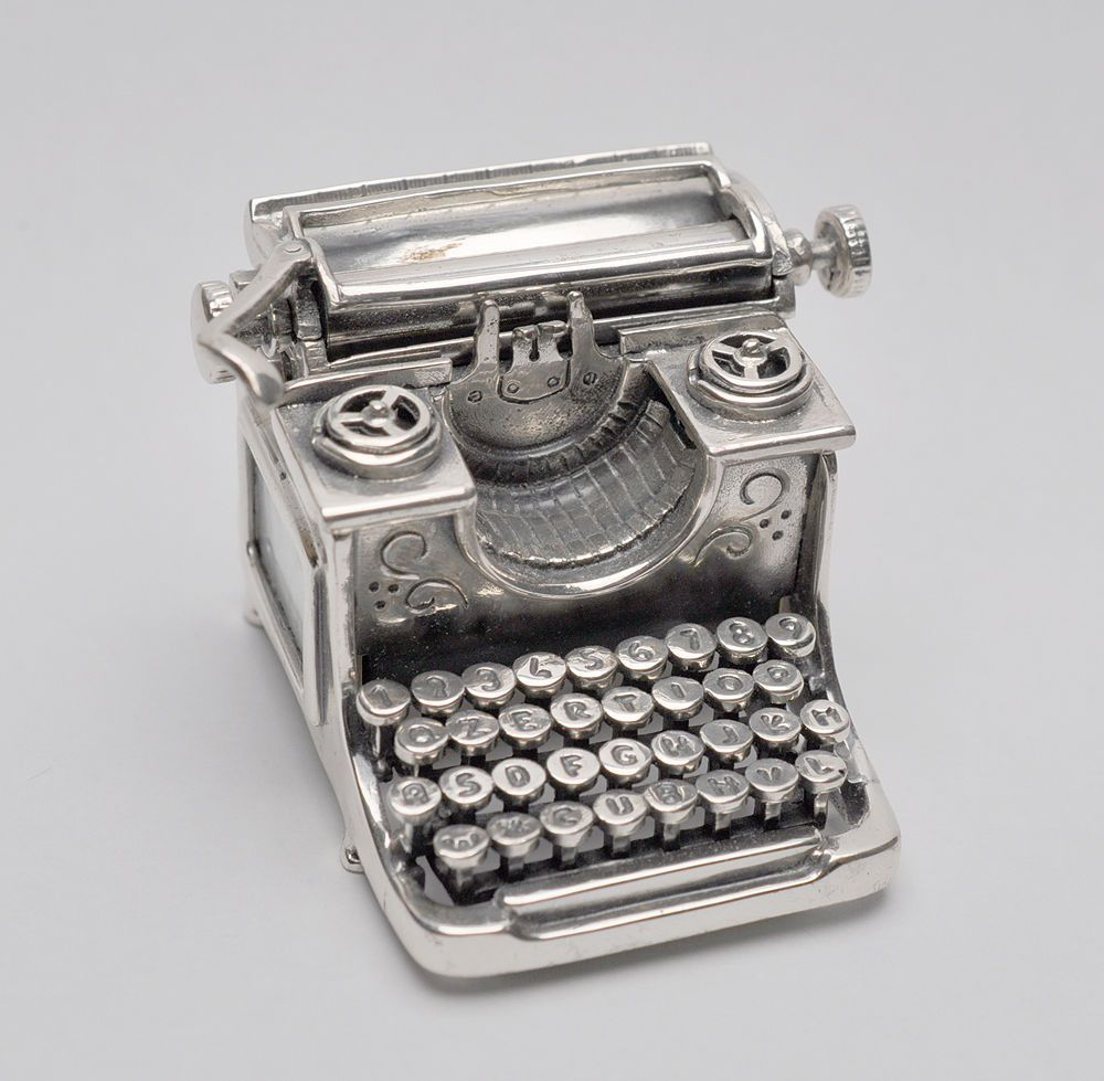Art Deco Medusa Oro Miniature 925 Sterling Silver Moving Parts Typewriter