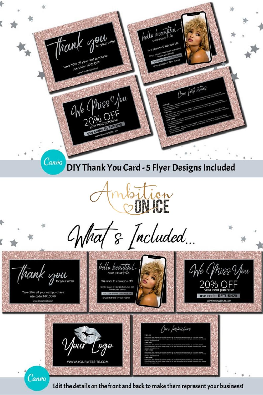 Diy Blush Glitter Thank You Card Canva Template Silver Etsy Thank You Card Design Thank You Cards Thank You Card Template