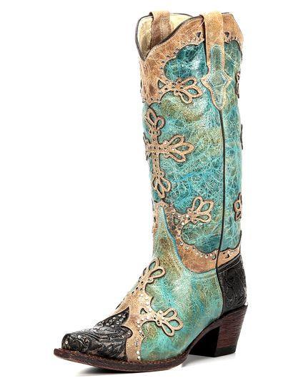 Women's Embossed Diva V-Toe Boot - Turquoise / Antique Saddle,