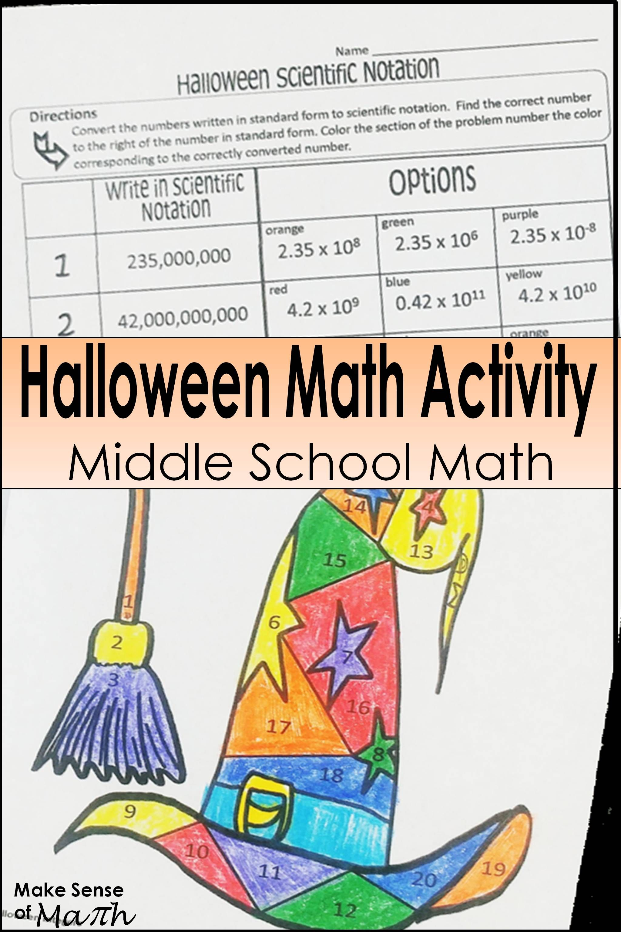 Halloween Math Activity Scientific Notation With Images
