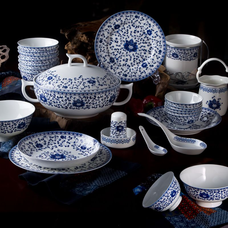 Chinese Style Blue And White Porcelain Tableware Sets Of 60 Pcs High Quality Bone China Dinnerware Sets Cer China Dinnerware Sets Dinnerware Sets Tableware Set