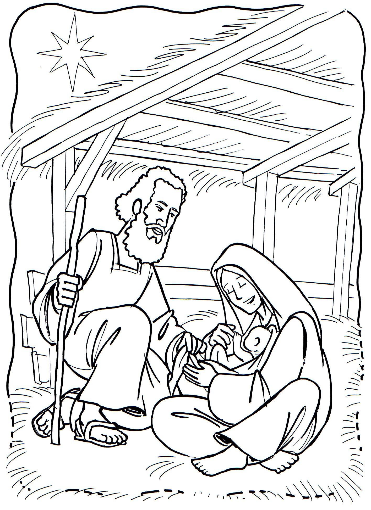 jozef en jezus kleurplaat voor kleuters colorear