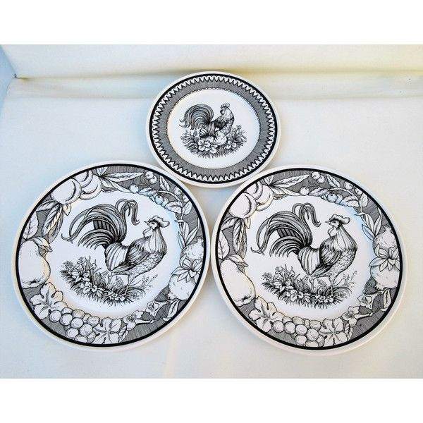 Vintage Rooster Plates Wall Plates Rooster Toile Black White Wall.  sc 1 st  Pinterest & Vintage Rooster Plates Wall Plates Rooster Toile Black White Wall ...
