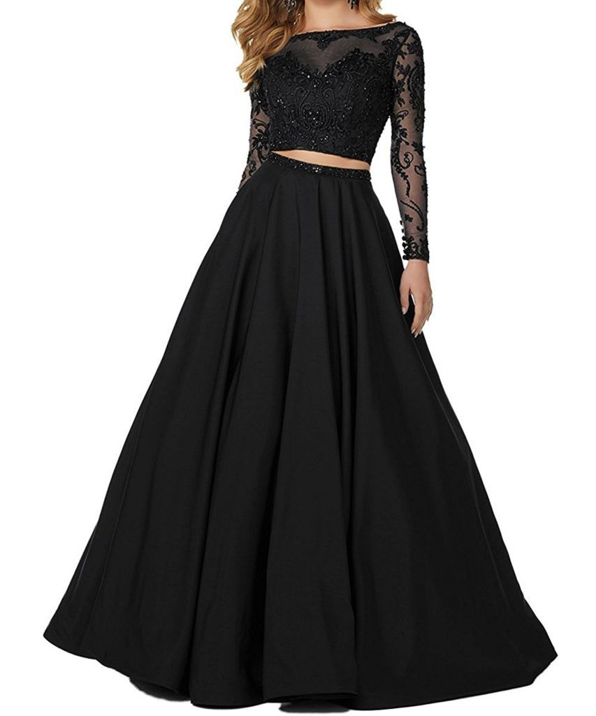 Little star womenus piece prom dresses long sleeve evening party