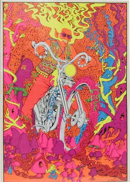 Psychedelic Motorcycle Man poster, Joe Roberts Jr., 1967