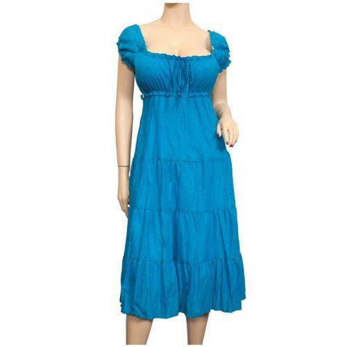 f63abf0506a95 Plus Size Blue Cotton Empire Waist SunDress