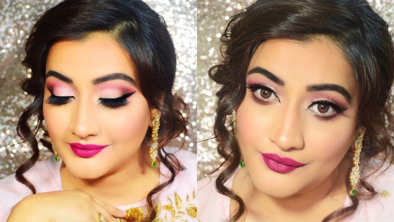 indian wedding guest makeup pink smokey eyes makeup tutorial