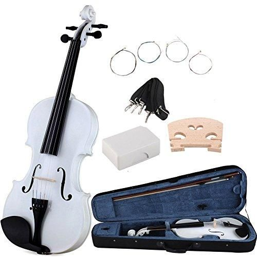 ADM Handcrafted Solid Wood Student Violin 4/4 Full Size with Starter Kits, White Color