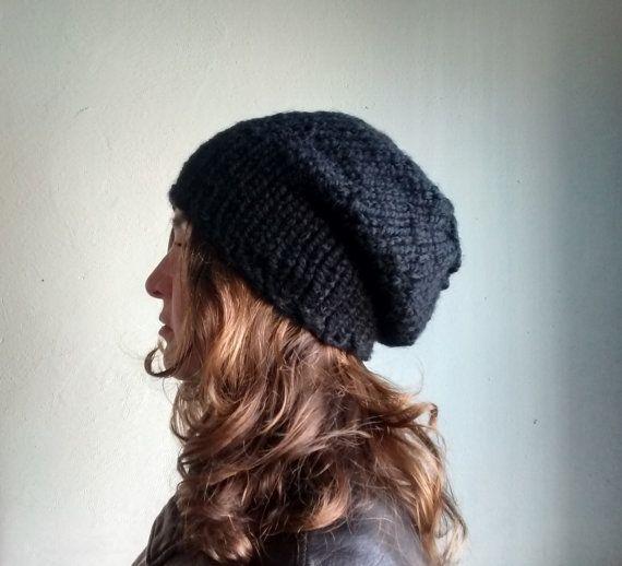 Winter Boho, READY TO SHIP Black Slouchy Beanie Black Knit by DragonflyStrand