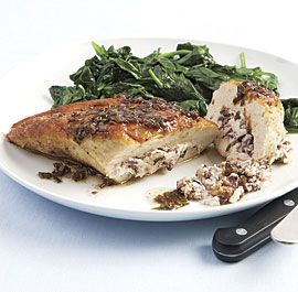 Goat-Cheese-and-Olive-Stuffed+Chicken+Breasts+with+Balsamic-Butter+Pan+Sauce