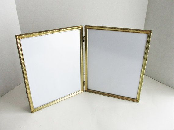 Vintage Double Goldtone Frame 8 X 10 Hinged Picture Frame Tabletop