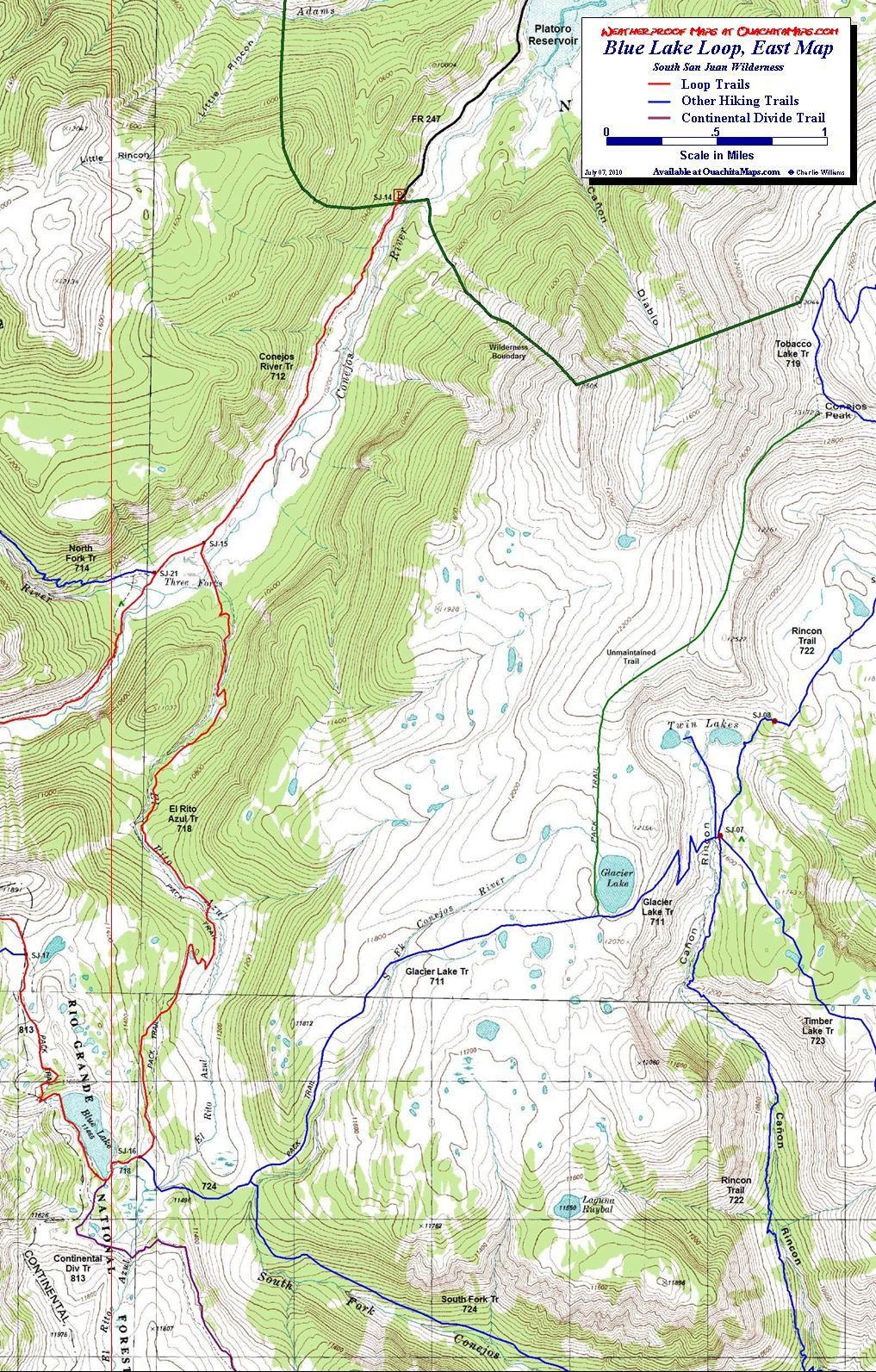 Blue Lake Loop South San Juan Wilderness Colorado Free Topo Trail - Topo trail maps
