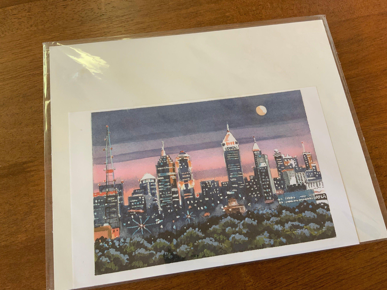Art Print Atlanta,  Pen Ink Watercolor Print, Atlanta By Night Art Print, Vintage 90's Print,  Larkin, Downtown Atlanta