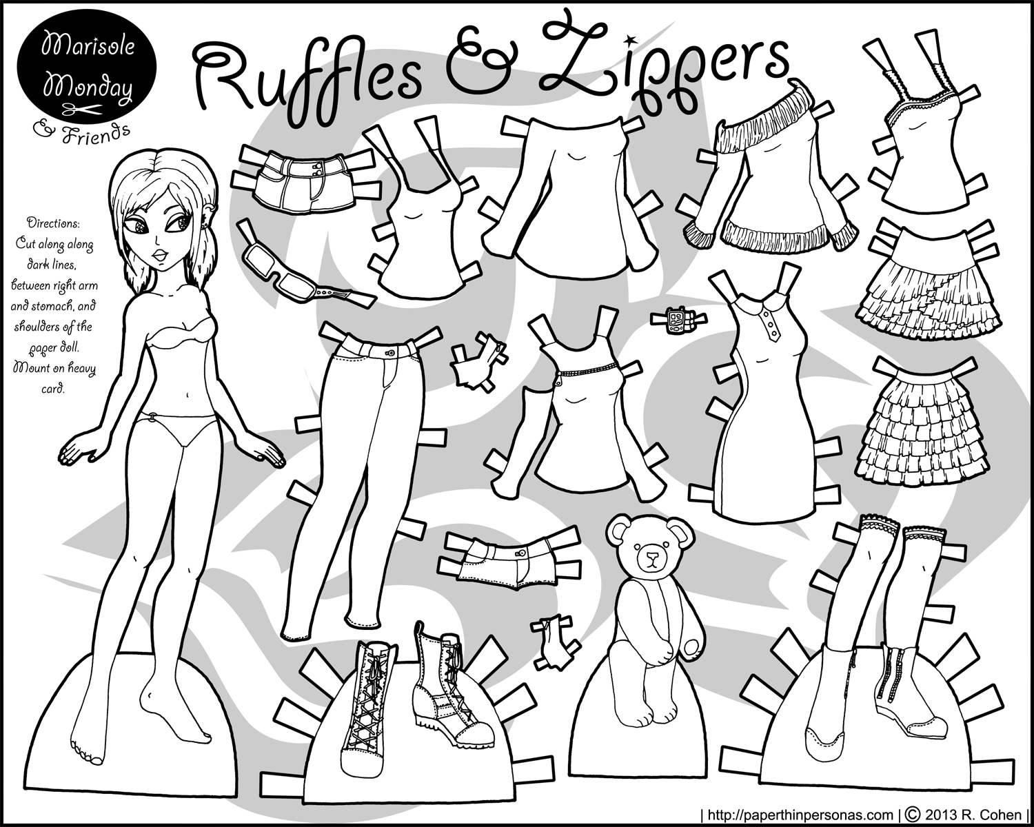 Marisole Monday Paper Dolls Black And White Sweater