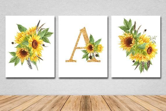 Sunflower nursery decor Sunflower baby nursery Sunflower monogram Sunflower baby letter Sunflower nursery decor Sunflower bedroom print